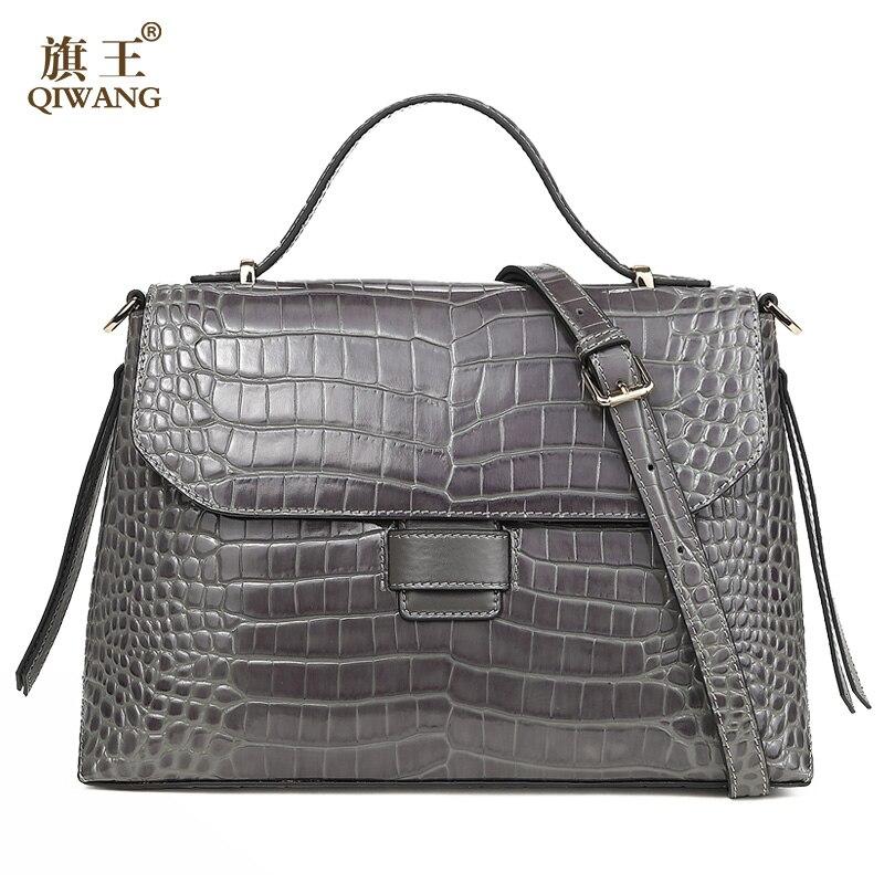 Qiwang Серая качественная женская сумка 100% натуральная кожа женская сумка из крокодиловой кожи класса люкс женская сумка очень высокого качес...