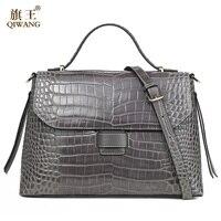 Qiwang Серая качественная женская сумка 100% натуральная кожа женская сумка из крокодиловой кожи класса люкс женская сумка очень высокого качес