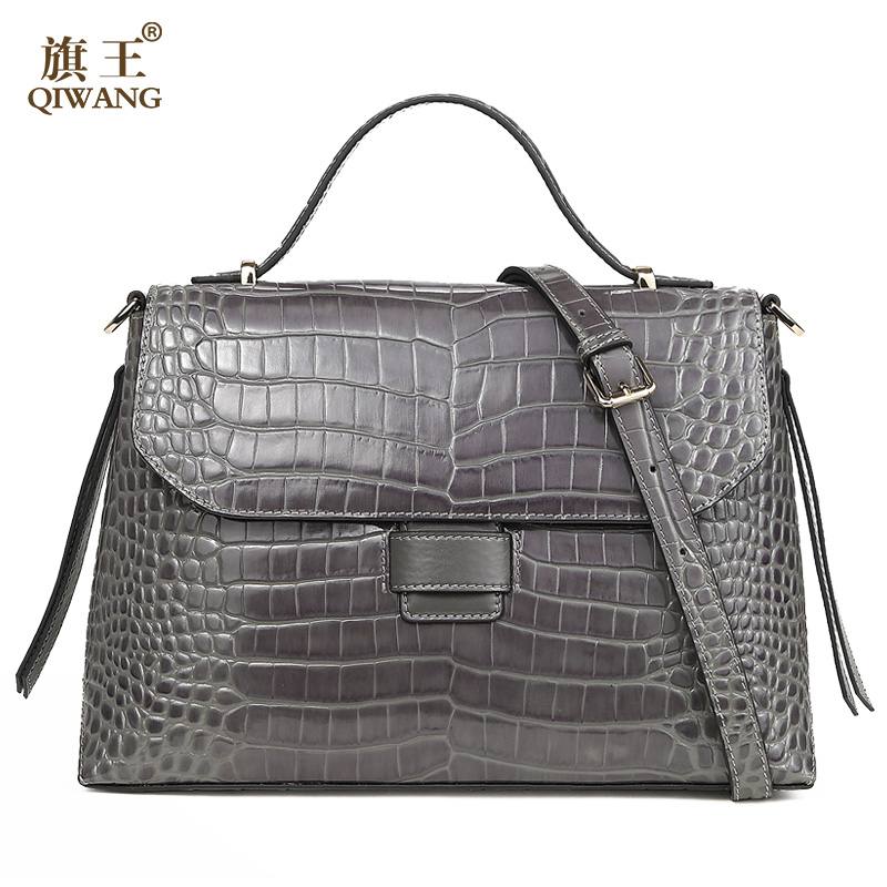 Qiwang Gray Quality Women Bag 100% Genuine Leather Women Crocodile Handbag Luxury Grade Leather Women Bag Very High QualityQiwang Gray Quality Women Bag 100% Genuine Leather Women Crocodile Handbag Luxury Grade Leather Women Bag Very High Quality