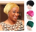 New Fashion Women Velvet Turban Headband Wrap Hijab Extra Long Velvet Tube Head Wrap Scarf Turbante