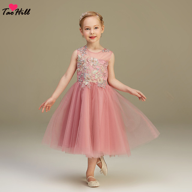 c0b8b01aae9 TaoHill Lace Applique Flower Girl Dresses for Weddings Dark Pink Kids  Evening Dress Holy Communion Dresses For Girls Pageant