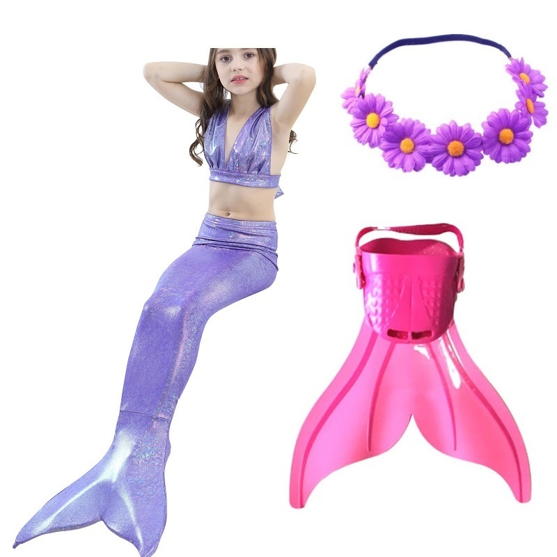 swimming mermaid tail mermaid tails for swimming with monofin children flipper bikini adult kids children girls Swimsuit Costume