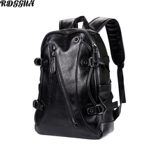 RDGGUH Brand Preppy Style Leather School Backpack Bag For College Fashion Men Casual Daypacks mochila Male New Laptop Backpack