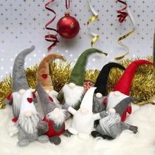 Santa Gnome Plush Hug Swedish Decoration Elf Doll Birthday Gift Table White Gray Holiday