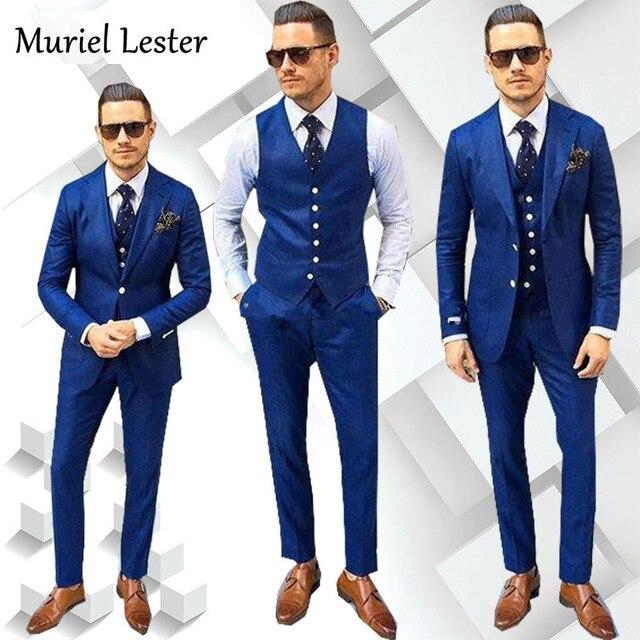 Ml 205 Made Royal Bule Men Suit 2018 Tailor Groom Tuxedos Light Black