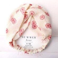 Women New Trendy Cross Knot Flower Heart Print Turban Headband Elastic Hairbands Girls Headwrap Korean Hair Accessories Bandanas