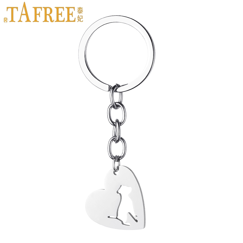 TAFREE Men Women Dog Lover Keychain Heart-shaped Pendant Bulldog Pet Dog Stainless Steel Animal Key Chains Rings Jewelry SKU01