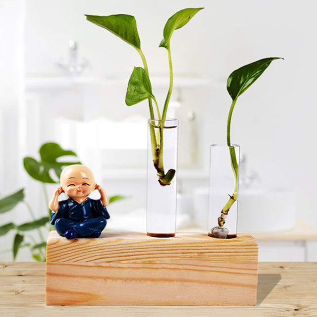 2pcs Crystal Glass Test Tube + Vase Flower Pots with Brush +1pc Wood Stand Base Hydroponic Plants Home Office Decoration 2