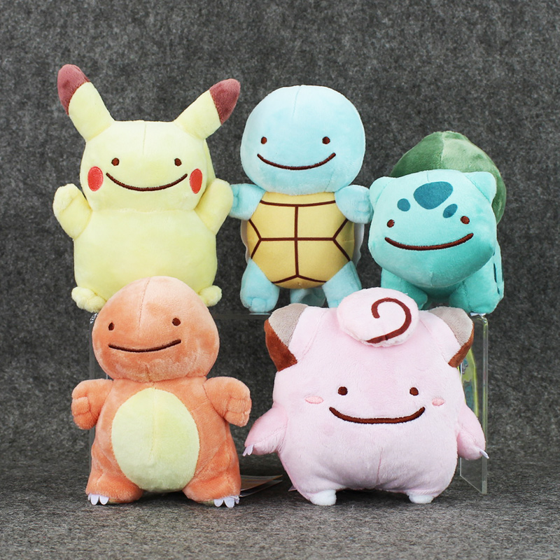 1Pcs 12 15cm Anime Cartoon Charmander Squirtle Bulbasaur Clefairy Ditto Metamon Plush Toys Soft Stuffed Dolls