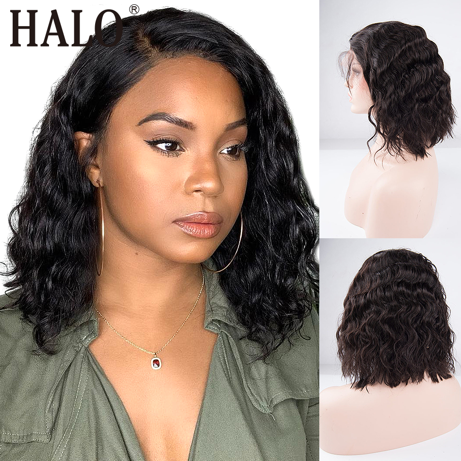 Short Bob Lace Front Human Hair Wigs For Black Women Brazilian Virgin Body Wave 360 Lace Frontal Wigs Pre-plucked With Baby Hair