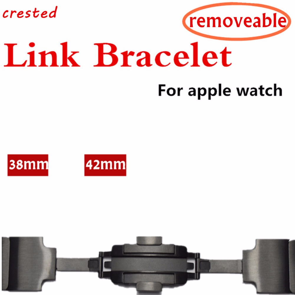 Galleria fotografica CRESTED link bracelet band for apple watch 3 2 1 for iwatch strap 42mm 38mm 316L Stainless Steel & Luxury Removable Metal strap