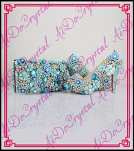 Aidocrystal light blue fashion beautiful italian shoes and bag set ladies evening party shoes and matching clutch bag
