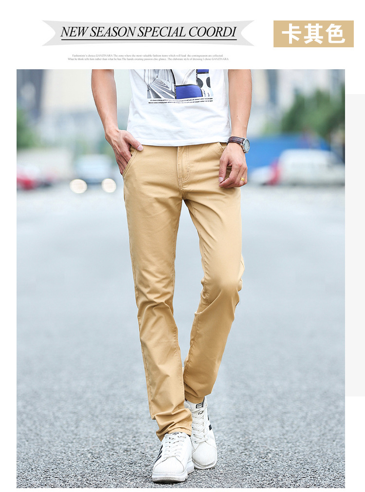 Business Casual Pants 11 Colors New Casual Pencil Pants Men Slim Pant Straight Trousers Solid Leisure Zipper Spring Summer k919 18