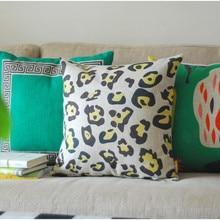 Leopard Creative  Linen pillow  cotton cushion  Square  Home Decor sofa cushions