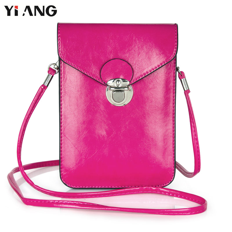 YIANG Small Shoulder Bag Women PU Leather Dual Pouch Crossbody Bags for Women with Card Holder Fashion Mobile Phone Bag 6.3'' trendy pu leather pouch bag for cell phone gadgets black
