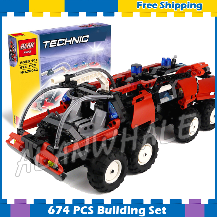 674pcs Techinic Airport Fire Rescue Truck Vehicles Steering Mechanism 20042 Model Building Blocks Gifts Set Compatible With lego 720pcs techinic 2in1 motorized container