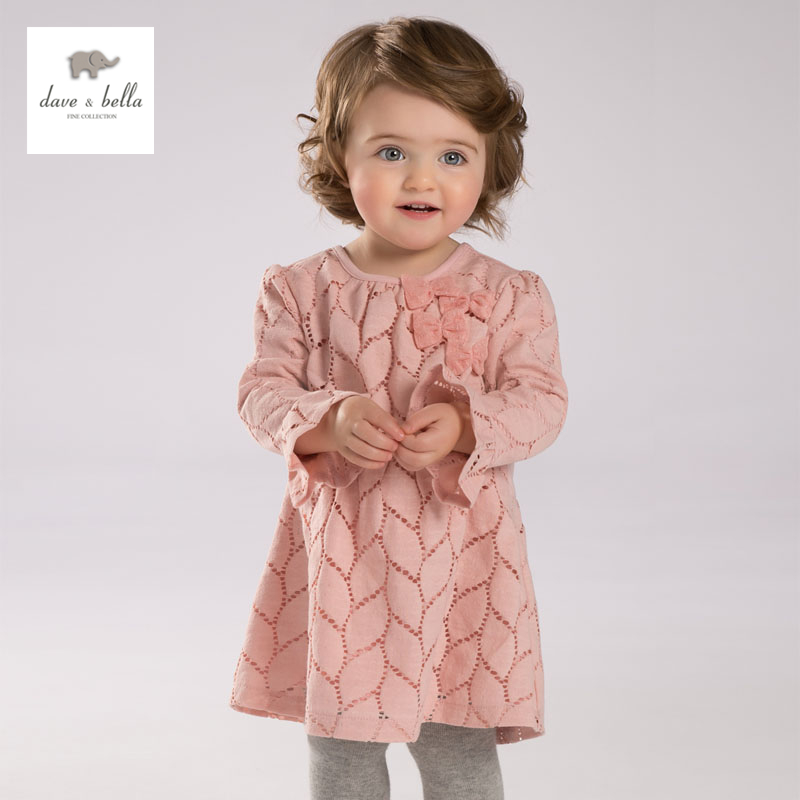 DB3724 dave bella  autumn baby girl pink dress infant clothes girls sweet dress baby petal sleeve birthday dress db3943 dave bella autumn baby girl pink dress infant clothes girls lace dress baby lantern sleeve birthday dress