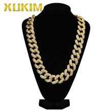 Xukim Jewelry Large Size 28mm Bling Gold Color Fat Chain Cuban Chain Necklace Rock Rapper Iced Out Hip Hop Jewelry Gift Party цены