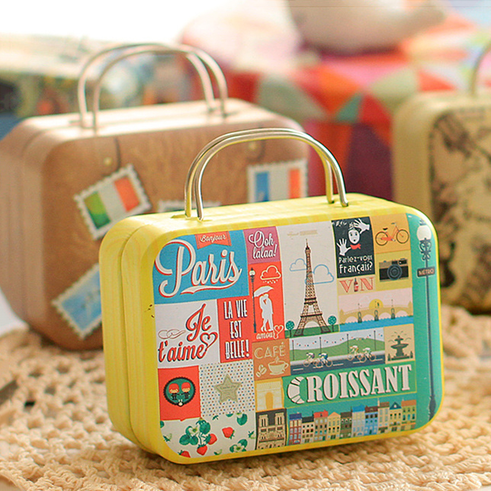 Retro Small Suitcase Candy Box Biscuit Cookies Cake Boxes Metal Storage Box