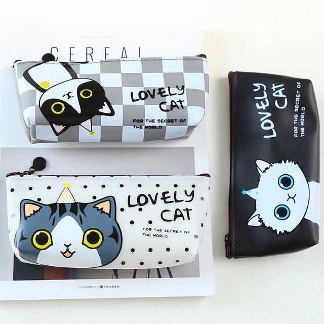 T42 Kawaii Lindo Gato Precioso PU Bolso De La Pluma caja de Lápices De Almacenamiento Organizador de Escritorio Del Estudiante de Útiles Escolares de Regalo de Cumpleaños