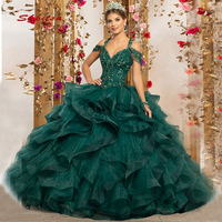 Luxury Green Quinceanera Dresses Sweet 16 Princess Crystals Ball Gown Long Prom Dresses Gown for 15 Years