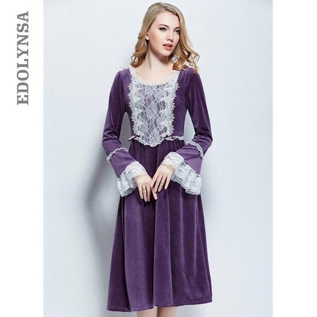 a57dc07429c3 Purple Velvet Long Sleeve Nightgown Women Warm Winter Sleepwear Vintage  Lace Patchwork Mid-Calf Night Dress Sleep Shirts T382