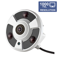 3 IR LEDs 1000TVL HD 360 Degree Fish Eye Analog Camera Zoom Night vision Metal Probe CCTV Monitoring Surveillance Camera System