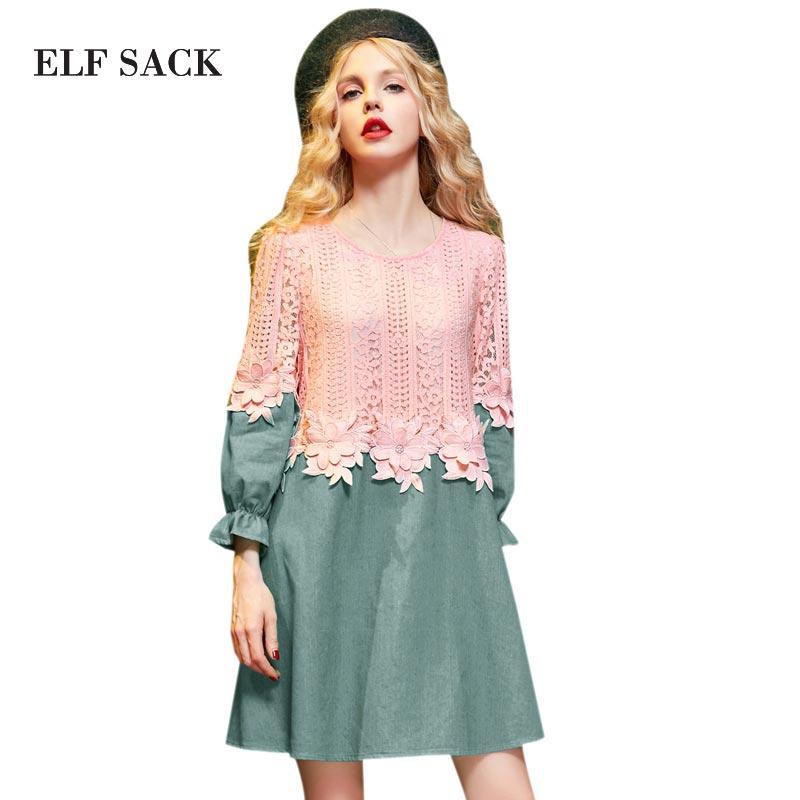 Elf SACO yb invierno denim patchwork volantes de encaje bordado vestido de una s