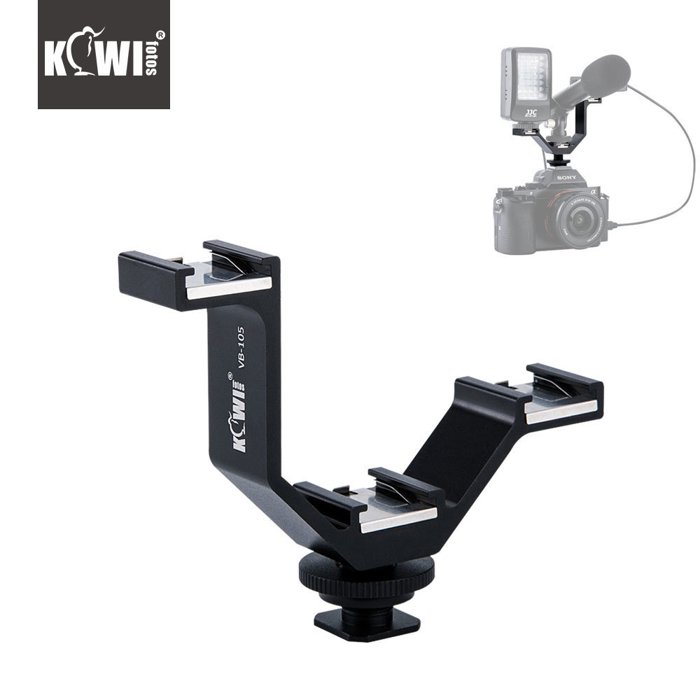 KIWI105mm Camera Triple Mount Hot Shoe V-shape Adapter Bracket for DSLR LED Video Lights Microphones Monitors