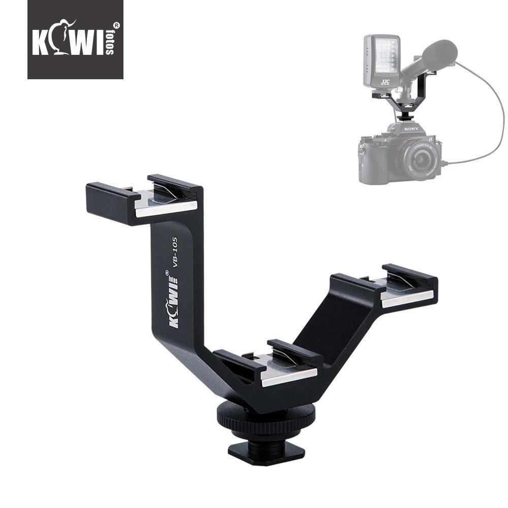 KIWI105mm Camera Triple Mount Hot Shoe V-shape Adapter Bracket for DSLR LED Video Lights Microphones Monitors