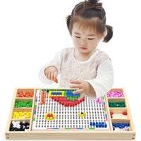 Montessori Educational Wooden Toys for Children Mushroom Nail Combination Spell Board Toy Multi functional Wisdom Platter
