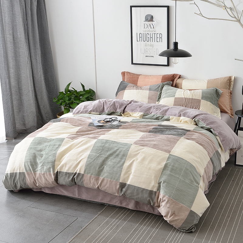 Soft Velvet Fabric Winter Bedding Set Queen King Size Plaid with Solid Color Double Sided Duvet Covers Bed Sheets PillowcaseSoft Velvet Fabric Winter Bedding Set Queen King Size Plaid with Solid Color Double Sided Duvet Covers Bed Sheets Pillowcase