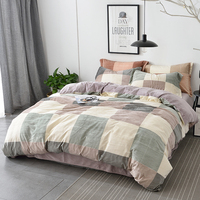 Soft Velvet Fabric Winter Bedding Set Queen King Size Plaid with Solid Color Double Sided Duvet Covers Bed Sheets Pillowcase