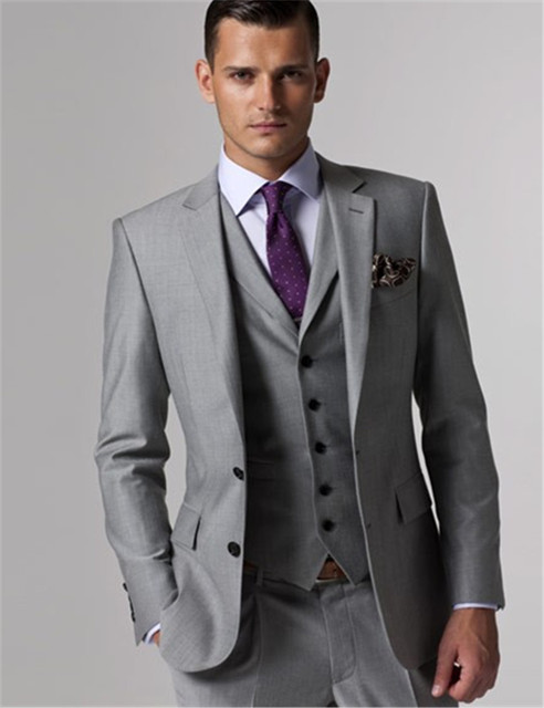 (Jacket+Vest+Pants) Mens Cream Suit Gray Groom Suit With Pants Cheap Wedding Tuxedos Terno Masculino