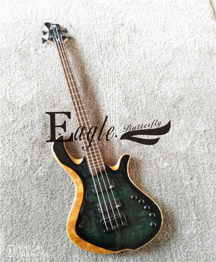 Aigle. Papillon guitare basse boutique personnalisée. Basse à quatre cordes, basse électrique split link, disponible en stock