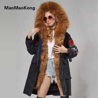 MaoMaoKong X Long Embroidery Large Real Large Raccoon Fur Hooded Parkas Coat Natural Fur Women Military
