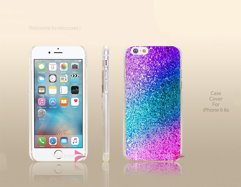 Pastel sparkle rainbow Hard Transparent Clear Case Cover for apple iphone 4 4s 5 5s 5c se 6 6s plus