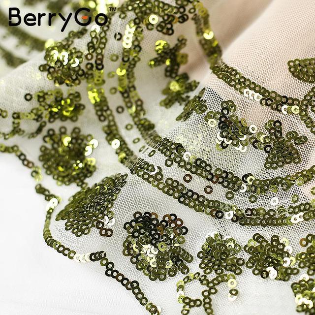 BerryGo Elegant evening party sequin dress Women sexy deep v neck bodycon dress short beach summer casual dress mesh vestidos