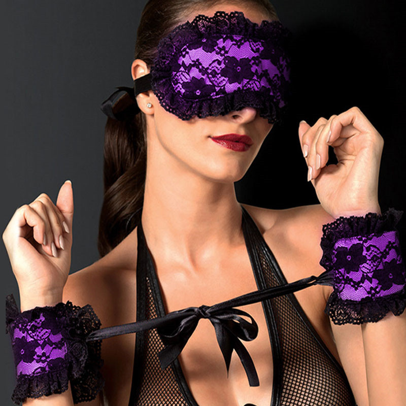 Sexy Lingerie Eye Mask +2 Pcs Handcuffs For Sex Lace Sponge Blindfolded Patch Sex Toys For Couple Erotic Lingerie