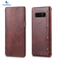 Leanonus S8 Plus Oil Wax PU Leather Case For Samsung Galaxy S8 Plus Note8 Vintage Business