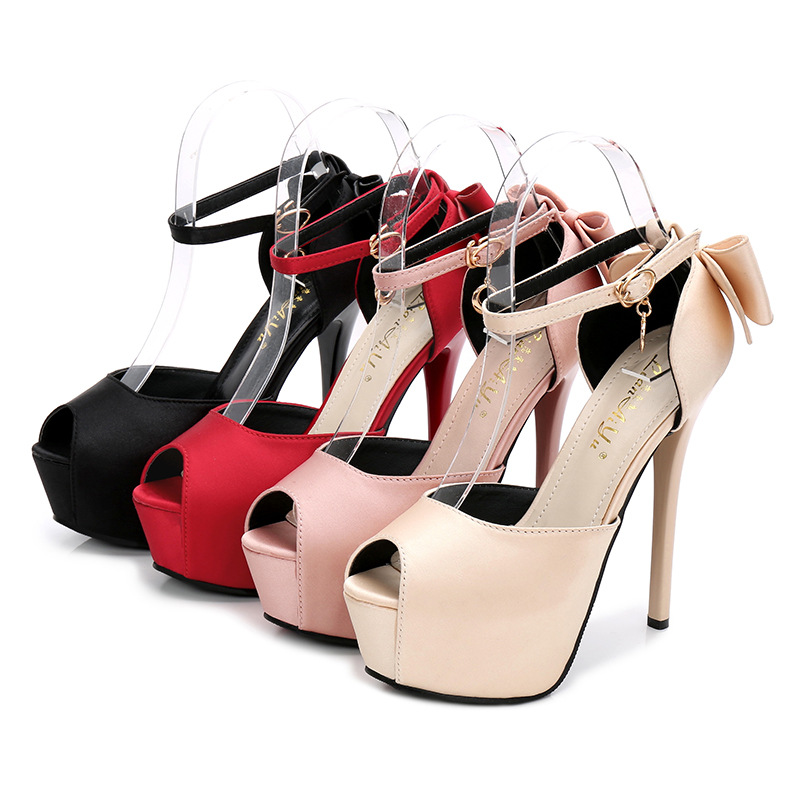 Summer Solid Sexy Pumps Women Sandals Shoes Wedding 3.8cm-4.5cm Platform Silk Buckle Strap Super High Heels Party Female Shoes 5