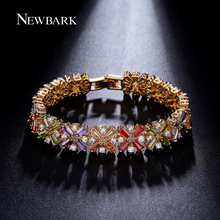 NEWBARK Luxury Bracelets & Bangles 4 Leaf Clover Strand Multicolor Clear CZ 14 pcs Colorful Snowflake Jewelry Christmas Gifts