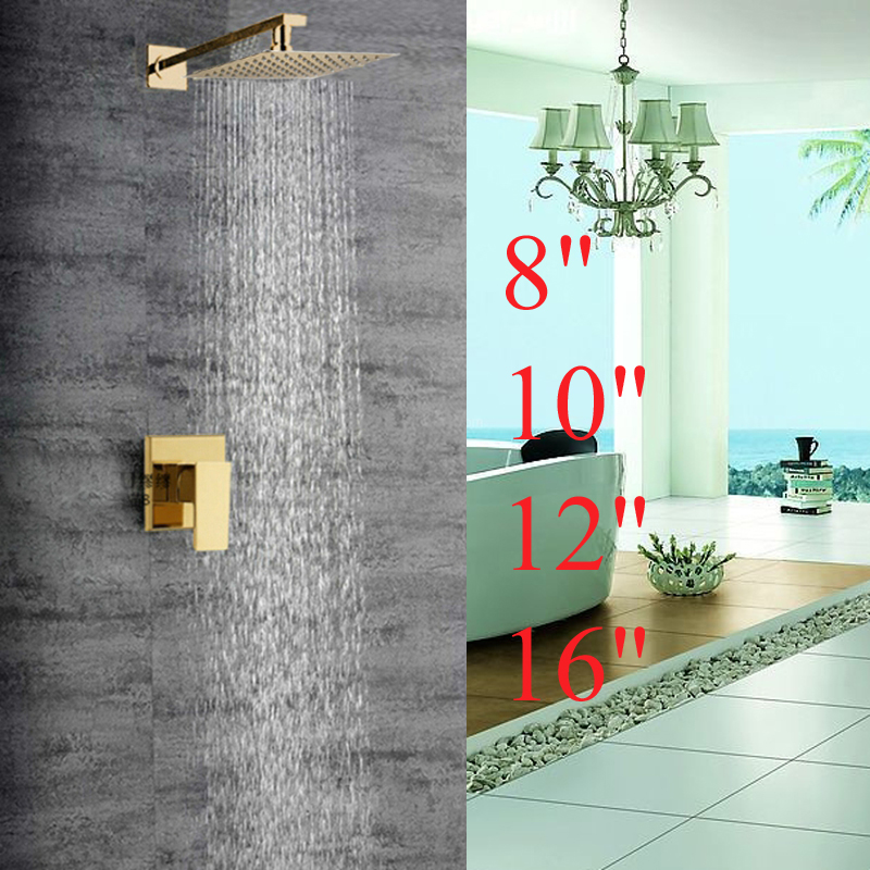 Modern Square Golden Brass Bathroom Rain Shower Head Faucet Valve Mixer Tap NEW kemaidi new modern wall mount shower faucet mixer tap w rain shower head