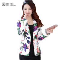 2019 New Women Floral Blazer Elegant Single Breasted Flower Print Blazers Casual Jacket Female Office Work Suit Blazers okd148