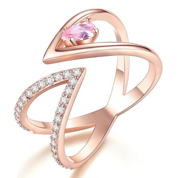 Rose Gold V Letter Open Size Fashion Ring 3