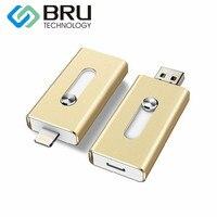 B RU USBแฟลชไดรฟ์64กิกะไบต์สำหรับiPhone 6/6วินาที/7บวก/8 iOS A Ndroidการจัด