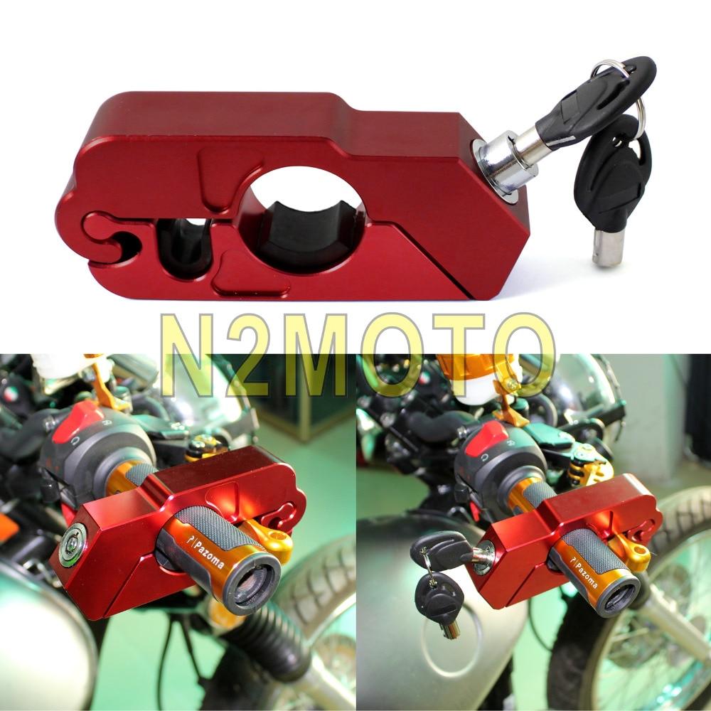 Red Motorcycle CNC Aluminum Security Anti Theft Brake Lock ATV Scooter Grip Lock For Honda Suzuki Kawasaki Yamaha 39mm