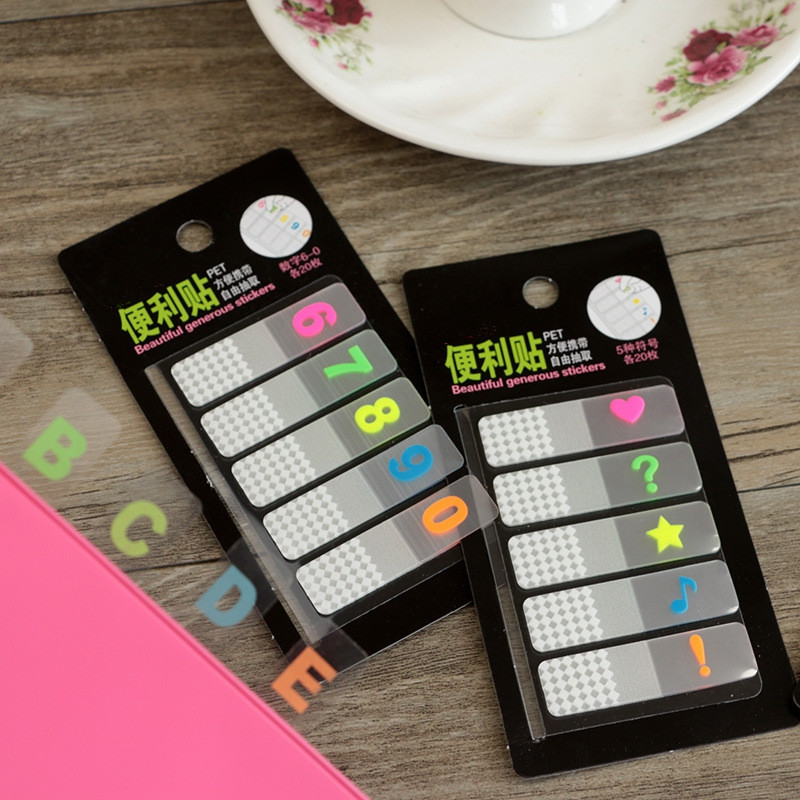 2018 Numbers and Letter PET Transparent Sticky Note and Memo Pad Colored Memo Pad N Times Post Indexes office school supplies