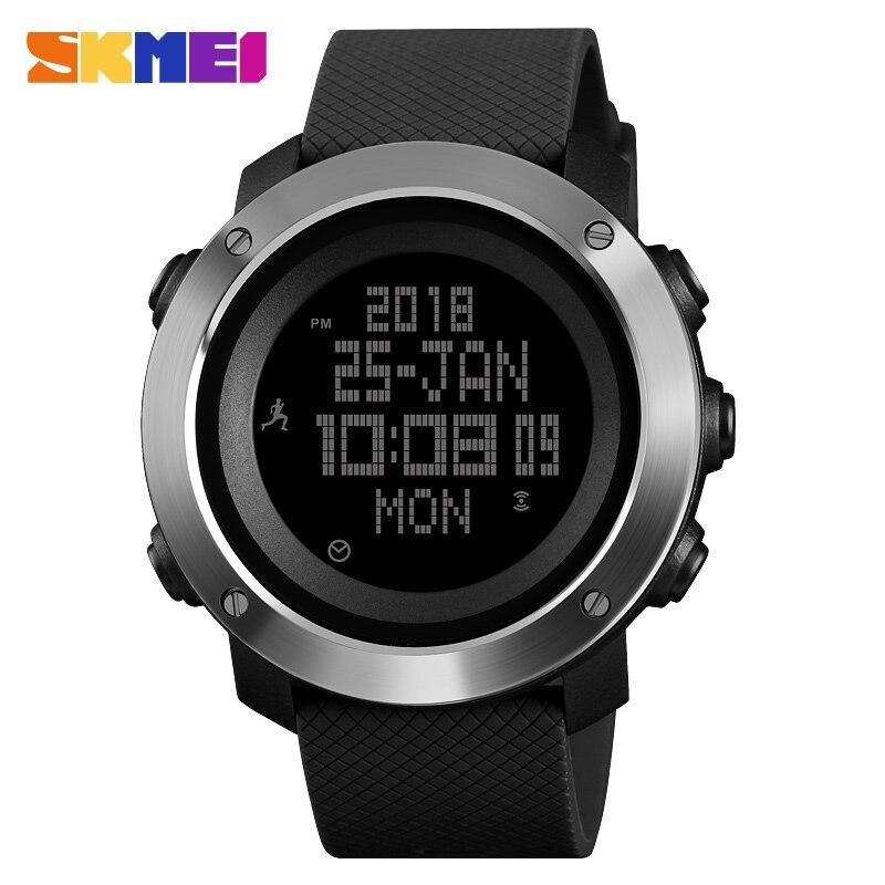SKMEI мужские часы, роскошный шагомер, электронные цифровые часы для мужчин, водонепроницаемые часы с обратным отсчетом, компасом, спортивные