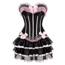 sexy lace up pink corsets for girls plus size costume overbust burlesque corset and skirt set tutu corselet victorian corset